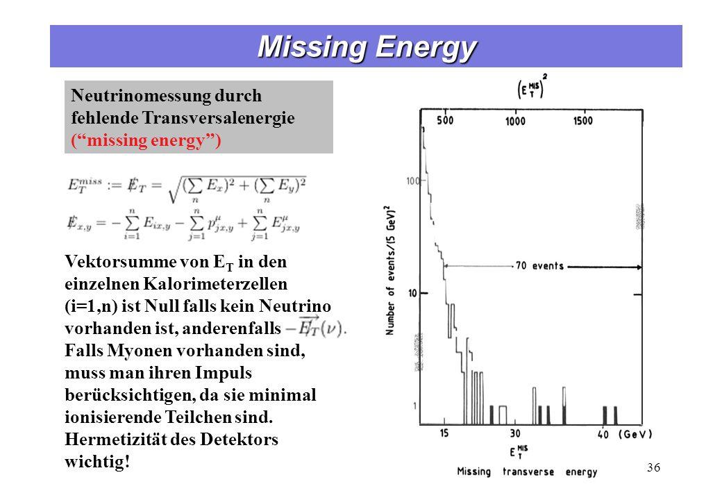 Neutrinomessung durch fehlende Transversalenergie (missing energy) 36 Vektorsumme von E T in den einzelnen Kalorimeterzellen (i=1,n) ist Null falls ke