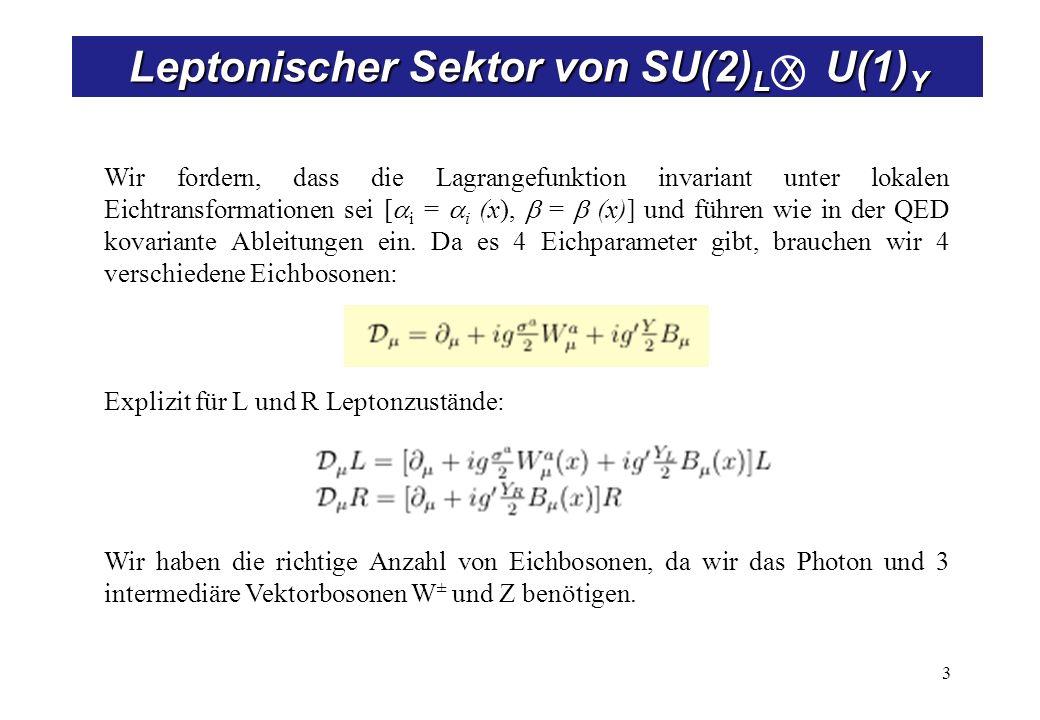 3 Wir fordern, dass die Lagrangefunktion invariant unter lokalen Eichtransformationen sei [ i = i (x), = (x)] und führen wie in der QED kovariante Abl