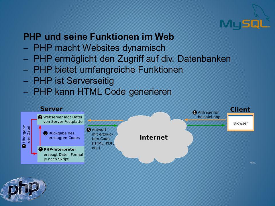 PHP und seine Funktionen im Web PHP macht Websites dynamisch PHP ermöglicht den Zugriff auf div. Datenbanken PHP bietet umfangreiche Funktionen PHP is