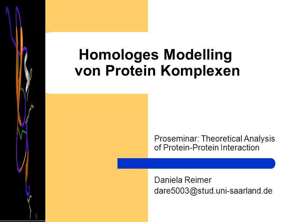Homologes Modelling von Protein Komplexen Proseminar: Theoretical Analysis of Protein-Protein Interaction Daniela Reimer dare5003@stud.uni-saarland.de