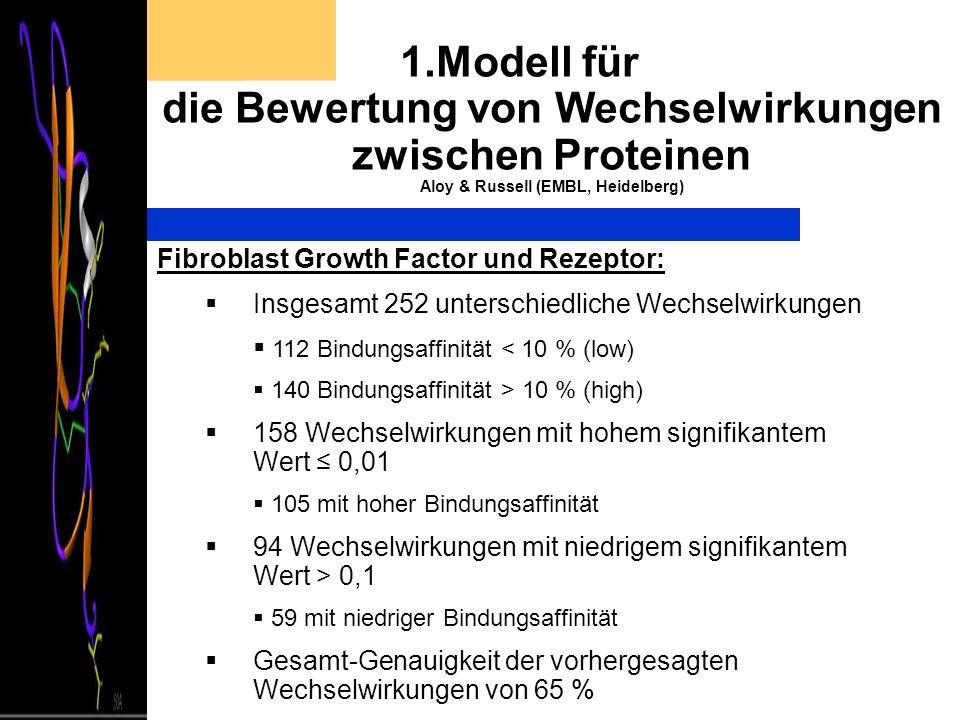 1.Modell für die Bewertung von Wechselwirkungen zwischen Proteinen Aloy & Russell (EMBL, Heidelberg) Fibroblast Growth Factor und Rezeptor: Insgesamt