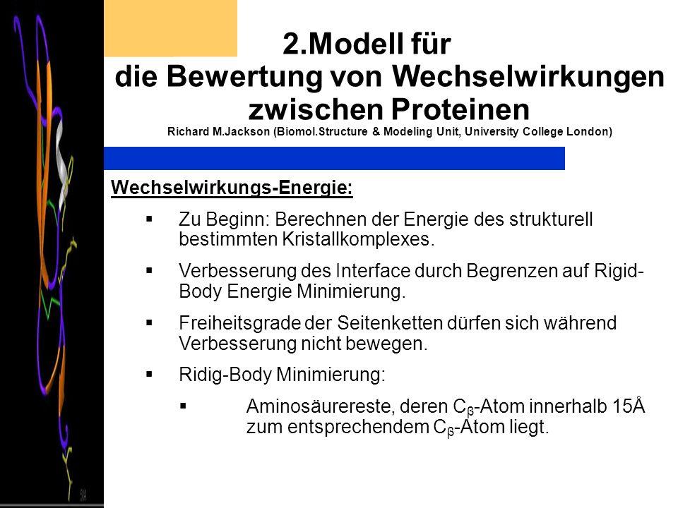 2.Modell für die Bewertung von Wechselwirkungen zwischen Proteinen Richard M.Jackson (Biomol.Structure & Modeling Unit, University College London) Wec