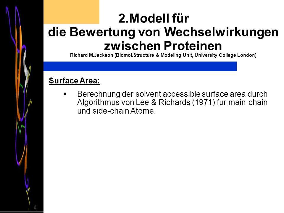 2.Modell für die Bewertung von Wechselwirkungen zwischen Proteinen Richard M.Jackson (Biomol.Structure & Modeling Unit, University College London) Sur