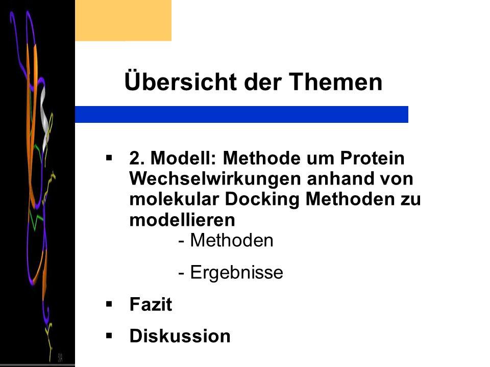 Übersicht der Themen 2. Modell: Methode um Protein Wechselwirkungen anhand von molekular Docking Methoden zu modellieren - Methoden - Ergebnisse Fazit
