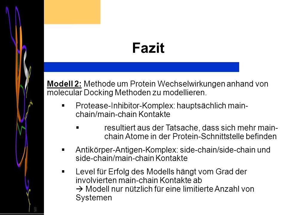 Fazit Modell 2: Methode um Protein Wechselwirkungen anhand von molecular Docking Methoden zu modellieren. Protease-Inhibitor-Komplex: hauptsächlich ma