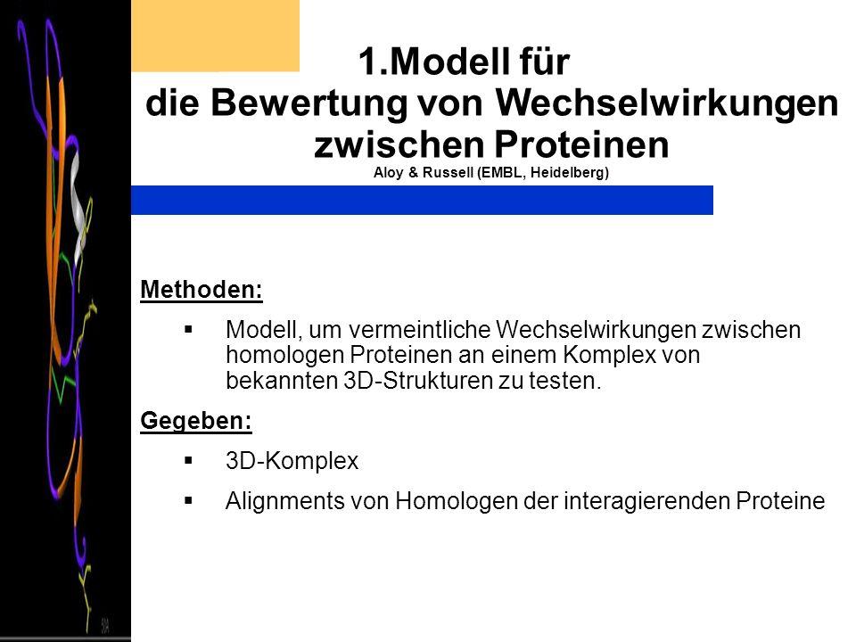 1.Modell für die Bewertung von Wechselwirkungen zwischen Proteinen Aloy & Russell (EMBL, Heidelberg) Methoden: Modell, um vermeintliche Wechselwirkung
