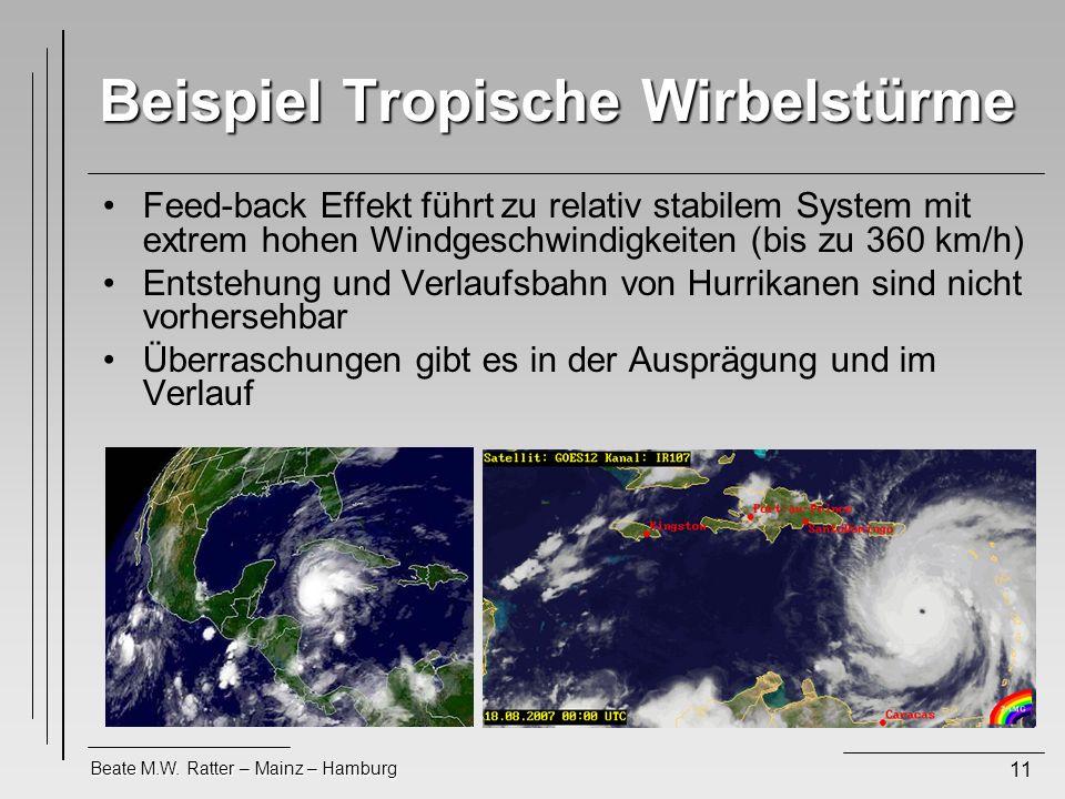 Beate M.W. Ratter – Mainz – Hamburg 11 Beispiel Tropische Wirbelstürme Feed-back Effekt führt zu relativ stabilem System mit extrem hohen Windgeschwin