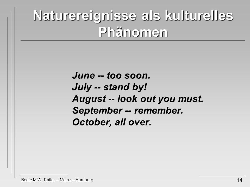 Beate M.W.Ratter – Mainz – Hamburg 14 Naturereignisse als kulturelles Phänomen June -- too soon.