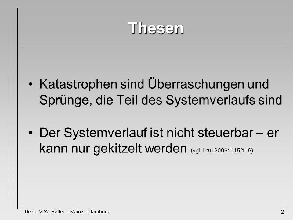 Beate M.W. Ratter – Mainz – Hamburg 2 Thesen Katastrophen sind Überraschungen und Sprünge, die Teil des Systemverlaufs sind Der Systemverlauf ist nich