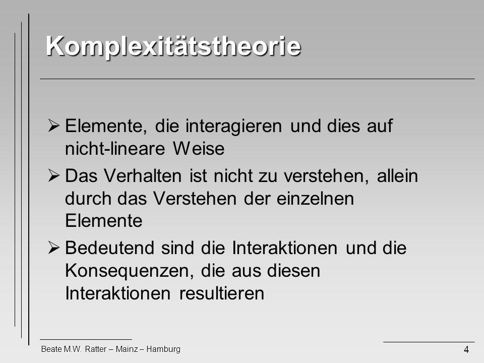Beate M.W. Ratter – Mainz – Hamburg 4 Komplexitätstheorie Elemente, die interagieren und dies auf nicht-lineare Weise Das Verhalten ist nicht zu verst