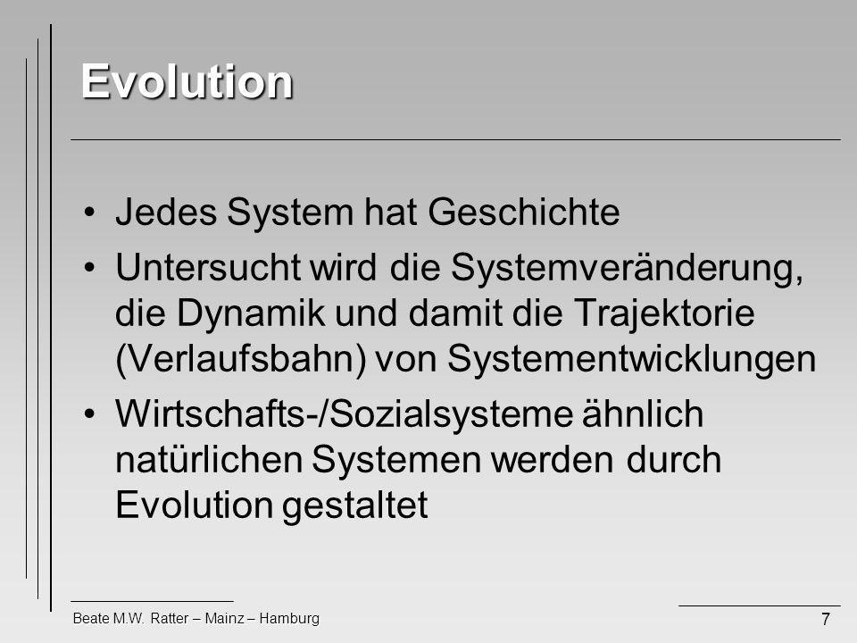 Beate M.W. Ratter – Mainz – Hamburg 7 Evolution Jedes System hat Geschichte Untersucht wird die Systemveränderung, die Dynamik und damit die Trajektor