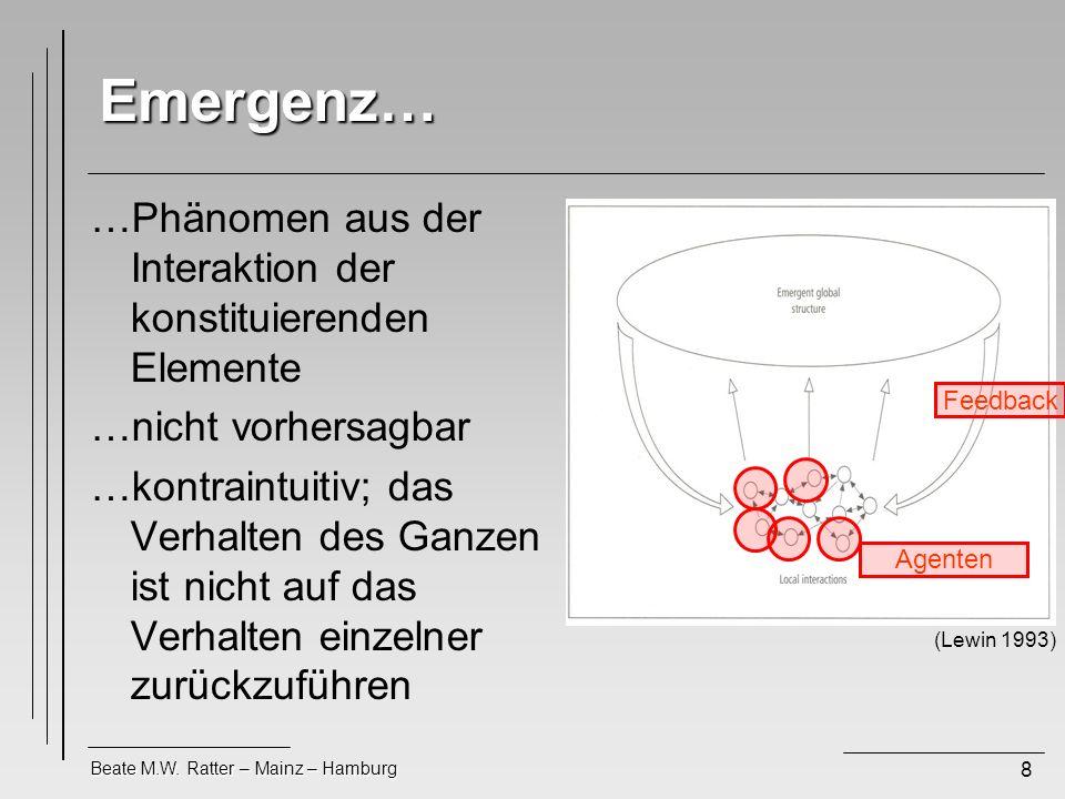 Beate M.W. Ratter – Mainz – Hamburg 8 Emergenz… …Phänomen aus der Interaktion der konstituierenden Elemente …nicht vorhersagbar …kontraintuitiv; das V