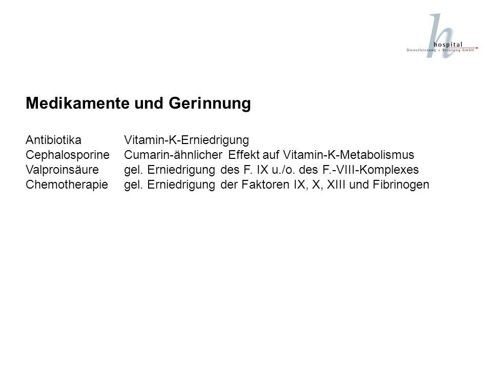Medikamente und Gerinnung AntibiotikaVitamin-K-Erniedrigung CephalosporineCumarin-ähnlicher Effekt auf Vitamin-K-Metabolismus Valproinsäuregel. Ernied