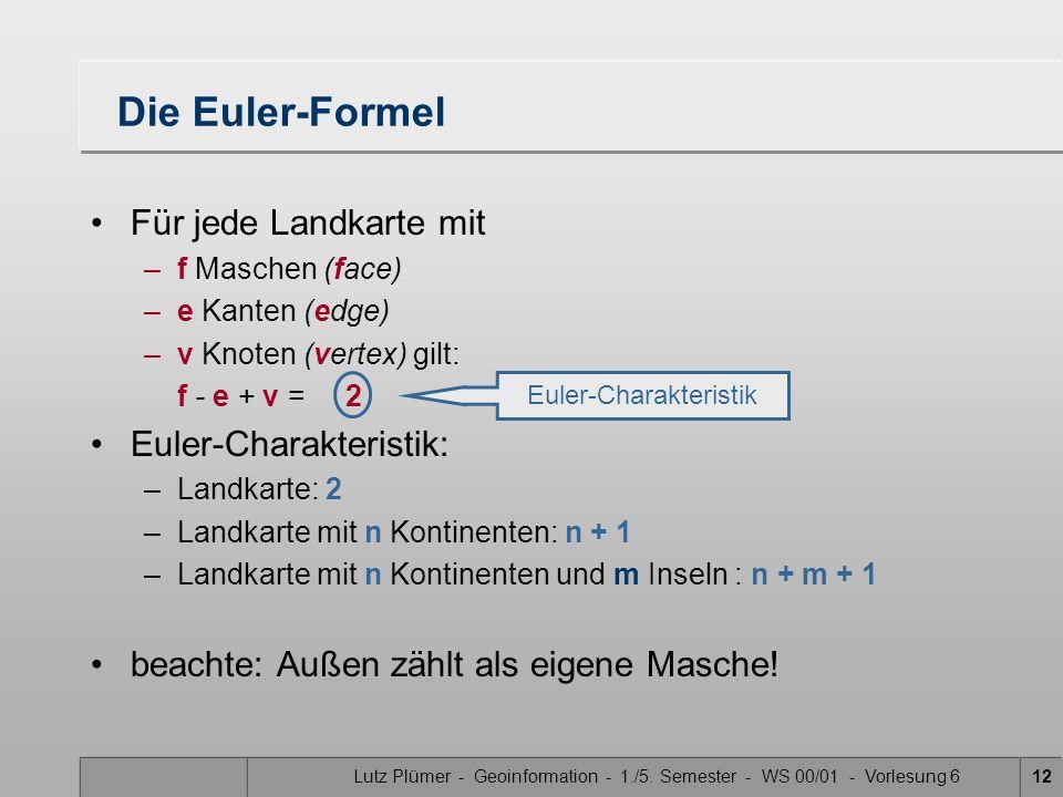 Lutz Plümer - Geoinformation - 1./5. Semester - WS 00/01 - Vorlesung 612 Die Euler-Formel Für jede Landkarte mit –f Maschen (face) –e Kanten (edge) –v