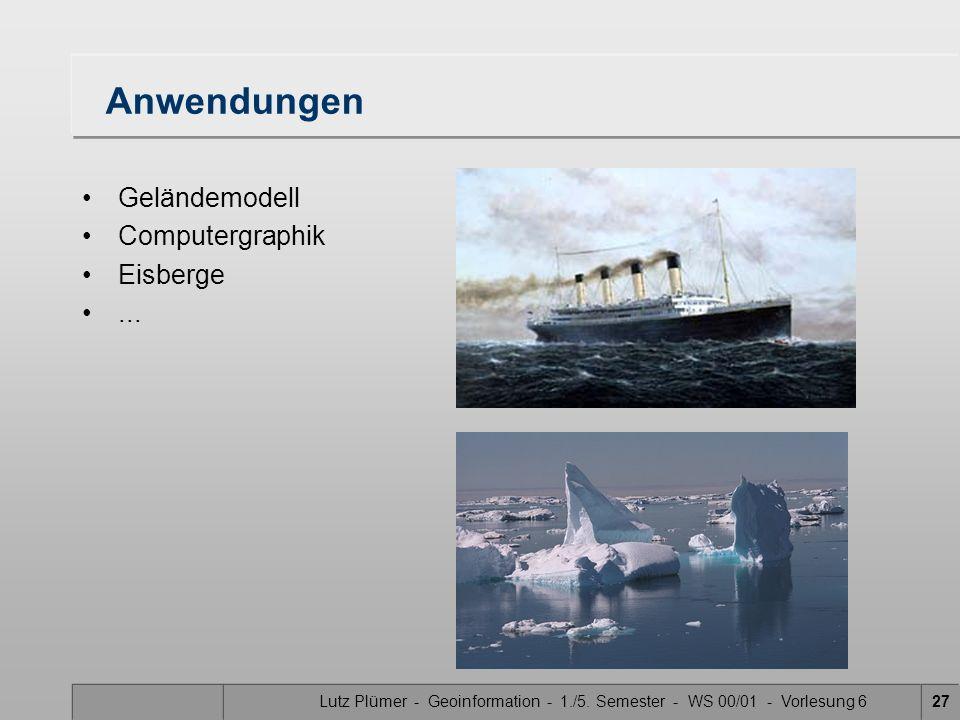 Lutz Plümer - Geoinformation - 1./5. Semester - WS 00/01 - Vorlesung 627 Anwendungen Geländemodell Computergraphik Eisberge...