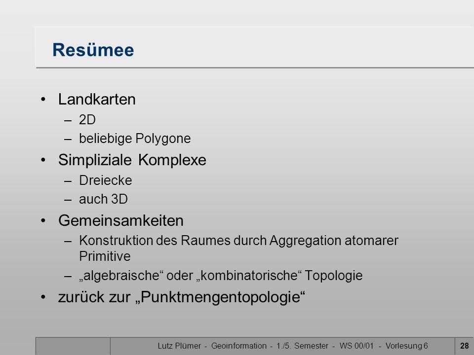 Lutz Plümer - Geoinformation - 1./5. Semester - WS 00/01 - Vorlesung 628 Resümee Landkarten –2D –beliebige Polygone Simpliziale Komplexe –Dreiecke –au