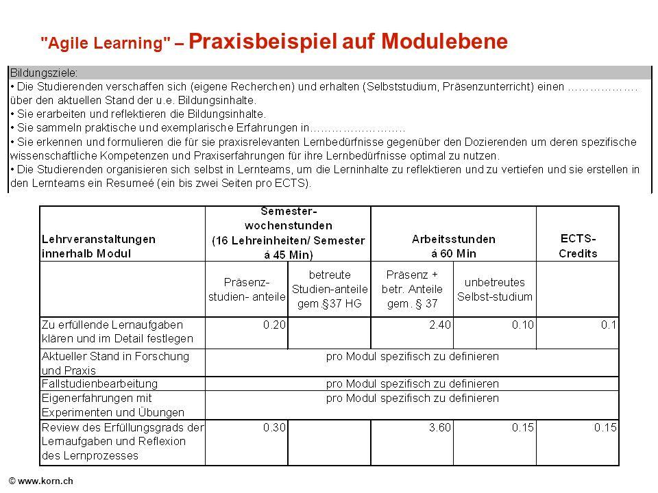 © www.korn.ch Agile Learning – Praxisbeispiel auf Modulebene