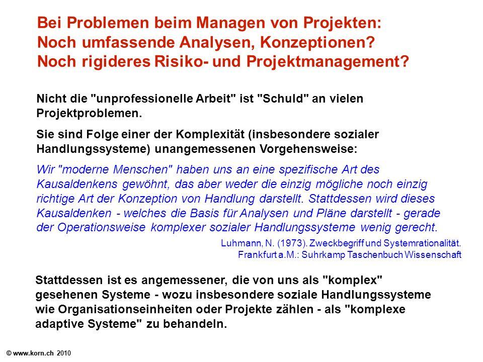 © www.korn.ch Bei Problemen beim Managen von Projekten: Noch umfassende Analysen, Konzeptionen? Noch rigideres Risiko- und Projektmanagement? Nicht di