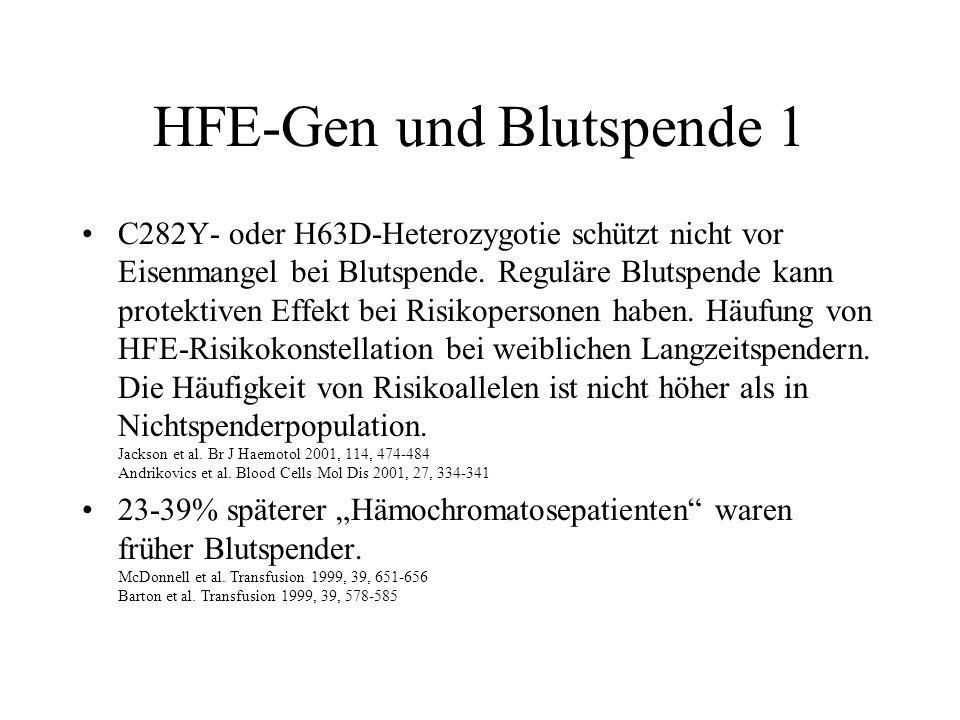 HFE-Gen und Blutspende 1 C282Y- oder H63D-Heterozygotie schützt nicht vor Eisenmangel bei Blutspende. Reguläre Blutspende kann protektiven Effekt bei