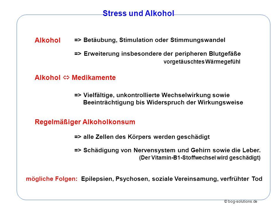 © bog-solutions.de Stress und Alkohol Alkohol => Betäubung, Stimulation oder Stimmungswandel => Erweiterung insbesondere der peripheren Blutgefäße vor