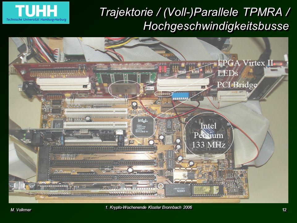M. Volkmer 1. Krypto-Wochenende Kloster Bronnbach 2006 12 Trajektorie / (Voll-)Parallele TPMRA / Hochgeschwindigkeitsbusse Absicherung von Hochgeschwi
