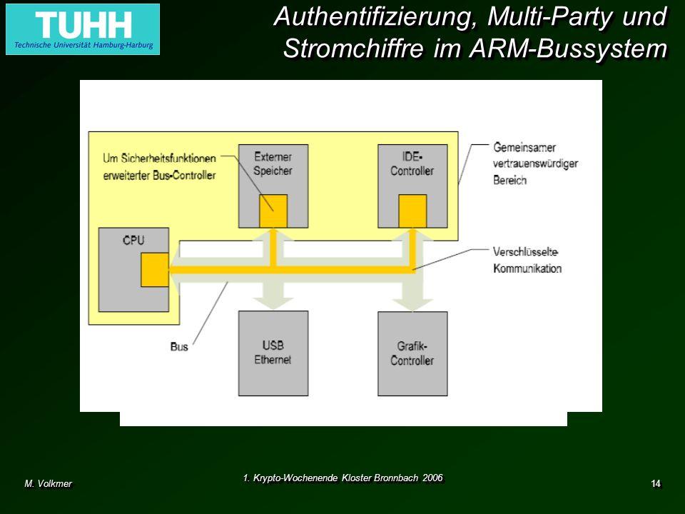 M. Volkmer 1. Krypto-Wochenende Kloster Bronnbach 2006 14 Authentifizierung, Multi-Party und Stromchiffre im ARM-Bussystem Authentifizierte und versch