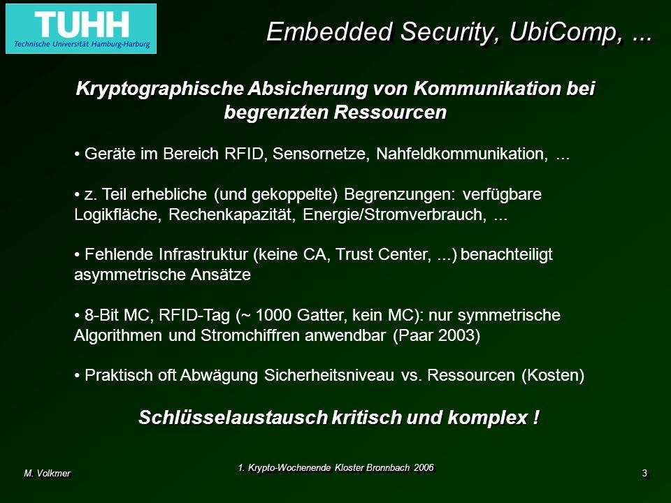 M. Volkmer 1. Krypto-Wochenende Kloster Bronnbach 2006 3 Embedded Security, UbiComp,... Kryptographische Absicherung von Kommunikation bei begrenzten