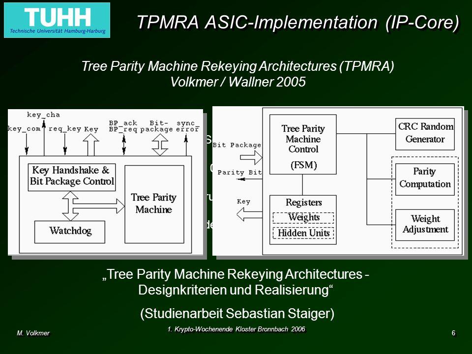 M. Volkmer 1. Krypto-Wochenende Kloster Bronnbach 2006 6 TPMRA ASIC-Implementation (IP-Core) Tree Parity Machine Rekeying Architectures (TPMRA) Volkme