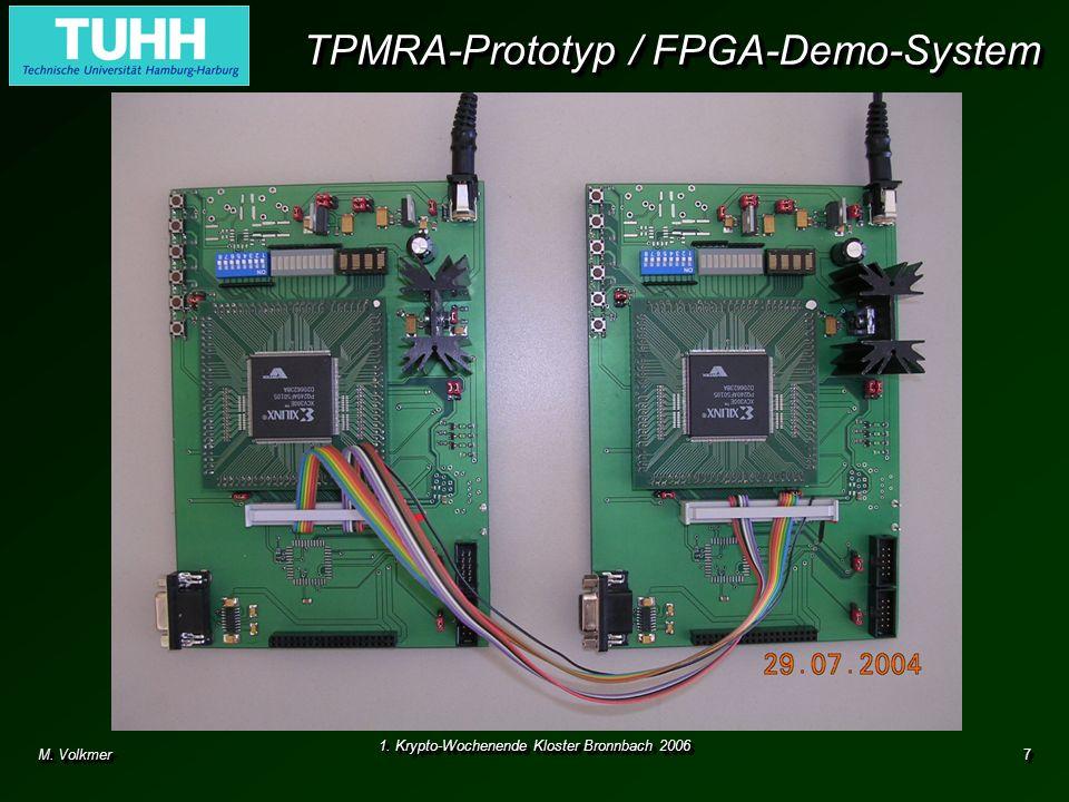 M. Volkmer 1. Krypto-Wochenende Kloster Bronnbach 2006 7 TPMRA-Prototyp / FPGA-Demo-System Hardware-Realisierung eines Schlüsselaustauschverfahrens mi