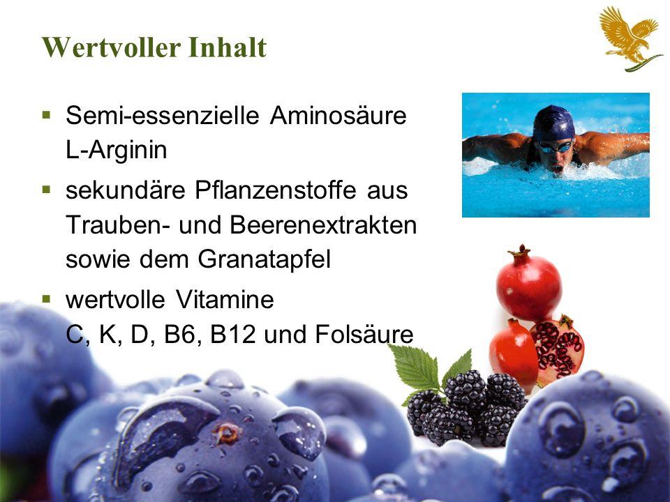 Wertvoller Inhalt Semi-essenzielle Aminosäure L-Arginin sekundäre Pflanzenstoffe aus Trauben- und Beerenextrakten sowie dem Granatapfel wertvolle Vita