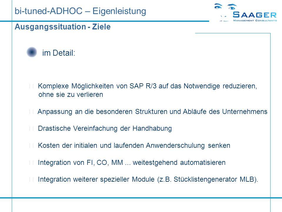 bi-tuned-ADHOC – Eigenleistung Ausgangssituation - Ziele im Detail:  Komplexe Möglichkeiten von SAP R/3 auf das Notwendige reduzieren, ohne sie zu ve