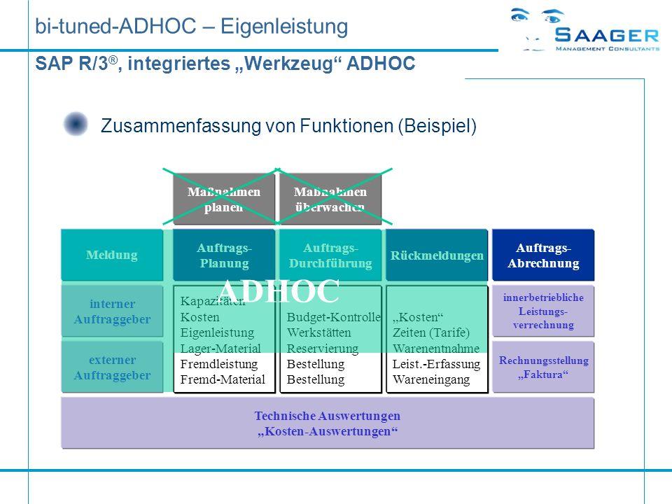 bi-tuned-ADHOC – Eigenleistung SAP R/3 ®, integriertes Werkzeug ADHOC Zusammenfassung von Funktionen (Beispiel) Maßnahmen planen Auftrags- Planung Maß