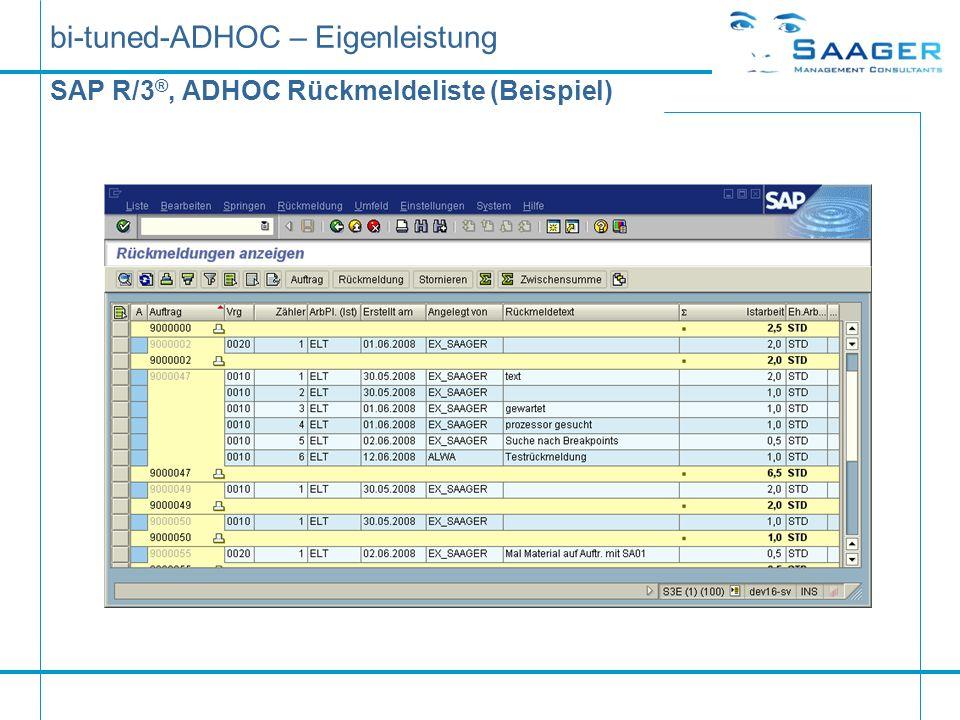 bi-tuned-ADHOC – Eigenleistung SAP R/3 ®, ADHOC Rückmeldeliste (Beispiel)