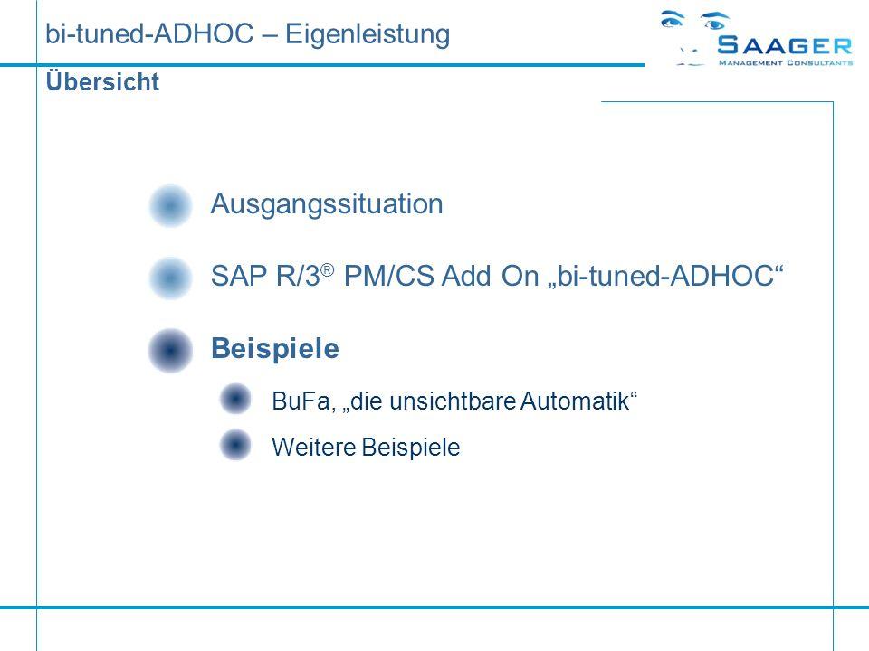 bi-tuned-ADHOC – Eigenleistung Übersicht Ausgangssituation SAP R/3 ® PM/CS Add On bi-tuned-ADHOC Beispiele BuFa, die unsichtbare AutomatikWeitere Beis