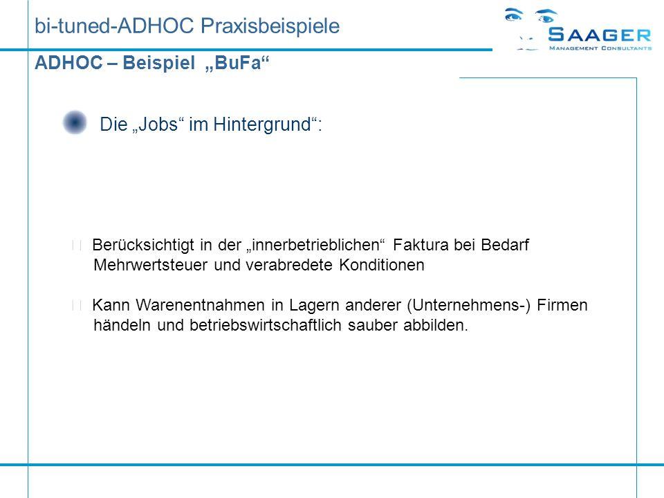bi-tuned-ADHOC Praxisbeispiele ADHOC – Beispiel BuFa Die Jobs im Hintergrund:  Berücksichtigt in der innerbetrieblichen Faktura bei Bedarf Mehrwertst