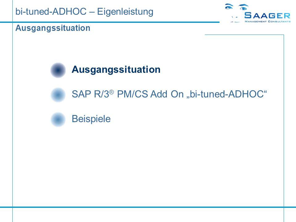 bi-tuned-ADHOC – Eigenleistung Ausgangssituation SAP R/3 ® PM/CS Add On bi-tuned-ADHOC ZieleSAP R/3 ® PM/CS Standard Beispiele