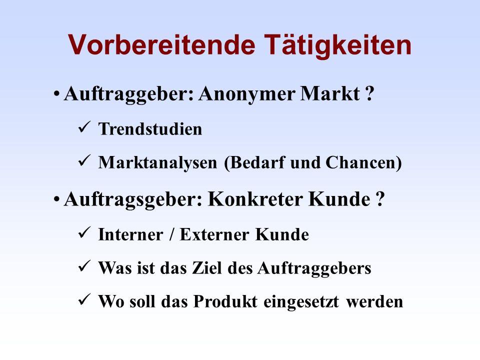 Vorbereitende Tätigkeiten Auftraggeber: Anonymer Markt ? Trendstudien Marktanalysen (Bedarf und Chancen) Auftragsgeber: Konkreter Kunde ? Interner / E