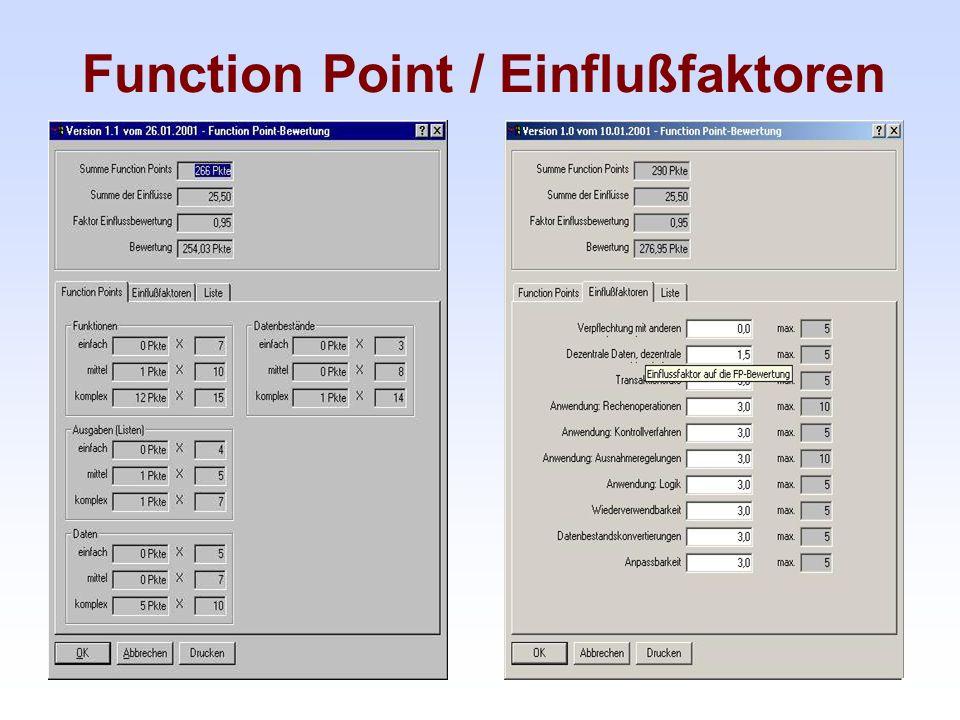 Function Point / Einflußfaktoren