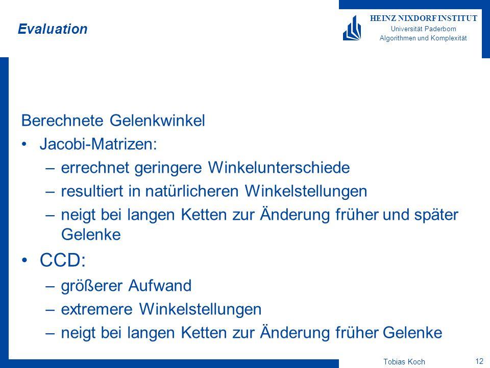 Tobias Koch 12 HEINZ NIXDORF INSTITUT Universität Paderborn Algorithmen und Komplexität Evaluation Berechnete Gelenkwinkel Jacobi-Matrizen: –errechnet