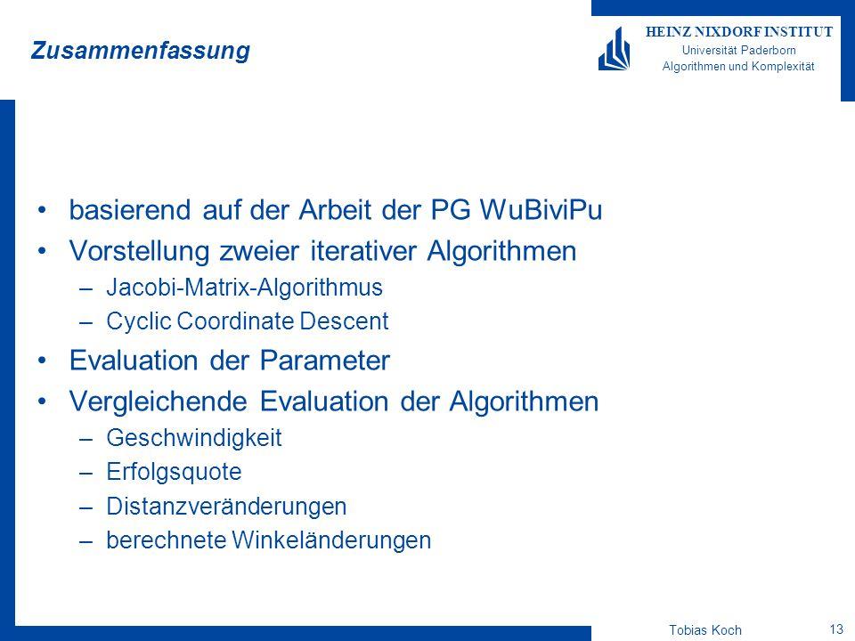 Tobias Koch 13 HEINZ NIXDORF INSTITUT Universität Paderborn Algorithmen und Komplexität Zusammenfassung basierend auf der Arbeit der PG WuBiviPu Vorst