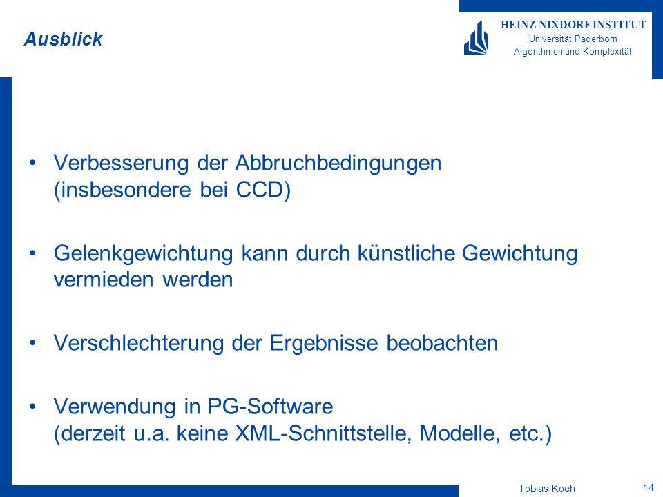 Tobias Koch 14 HEINZ NIXDORF INSTITUT Universität Paderborn Algorithmen und Komplexität Ausblick Verbesserung der Abbruchbedingungen (insbesondere bei