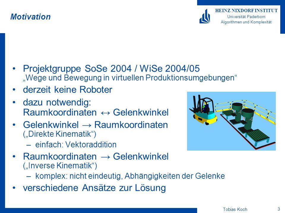 Tobias Koch 14 HEINZ NIXDORF INSTITUT Universität Paderborn Algorithmen und Komplexität Ausblick Verbesserung der Abbruchbedingungen (insbesondere bei CCD) Gelenkgewichtung kann durch künstliche Gewichtung vermieden werden Verschlechterung der Ergebnisse beobachten Verwendung in PG-Software (derzeit u.a.