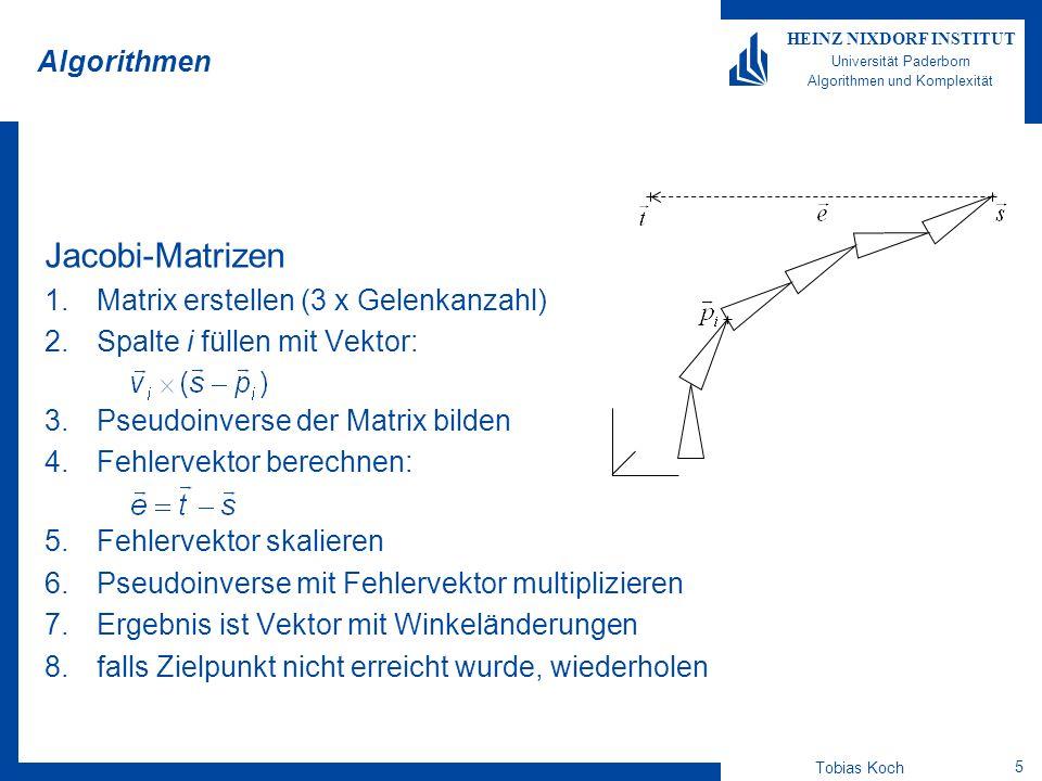 Tobias Koch 6 HEINZ NIXDORF INSTITUT Universität Paderborn Algorithmen und Komplexität Algorithmen Cyclic Coordinate Descent (CCD) Iteration: 1.Rotationsebene berechnen 2.dem Ziel nächsten Punkt in der Ebene bestimmen 3.Rotationspunkt in der Ebene bestimmen 4.Vektor vom Rotationspunkt zum Endeffektor berechnen 5.Vektor vom Rotationspunkt zum Ziel in der Ebene berechnen 6.Winkel zwischen den beiden Vektoren bestimmen 7.Segmentgelenk um den berechneten Winkel verändern 8.falls Zielpunkt nicht erreicht wurde, nächstes Gelenk ändern