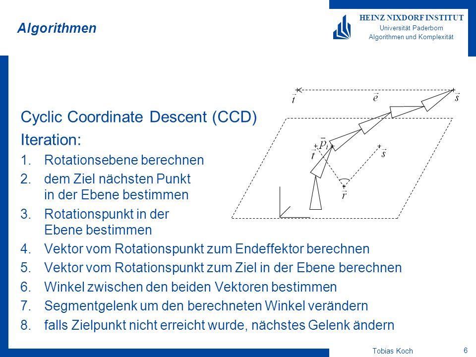 Tobias Koch 7 HEINZ NIXDORF INSTITUT Universität Paderborn Algorithmen und Komplexität Evaluation Algorithmen-Parameter beide Algorithmen haben Parameter, die das Ergebnis beeinflussen können Untersuchung dieser Parameter hinsichtlich Geschwindigkeit und Berechnungserfolg alle Untersuchungen wurden auf mehreren simulierten Robotern durchgeführt