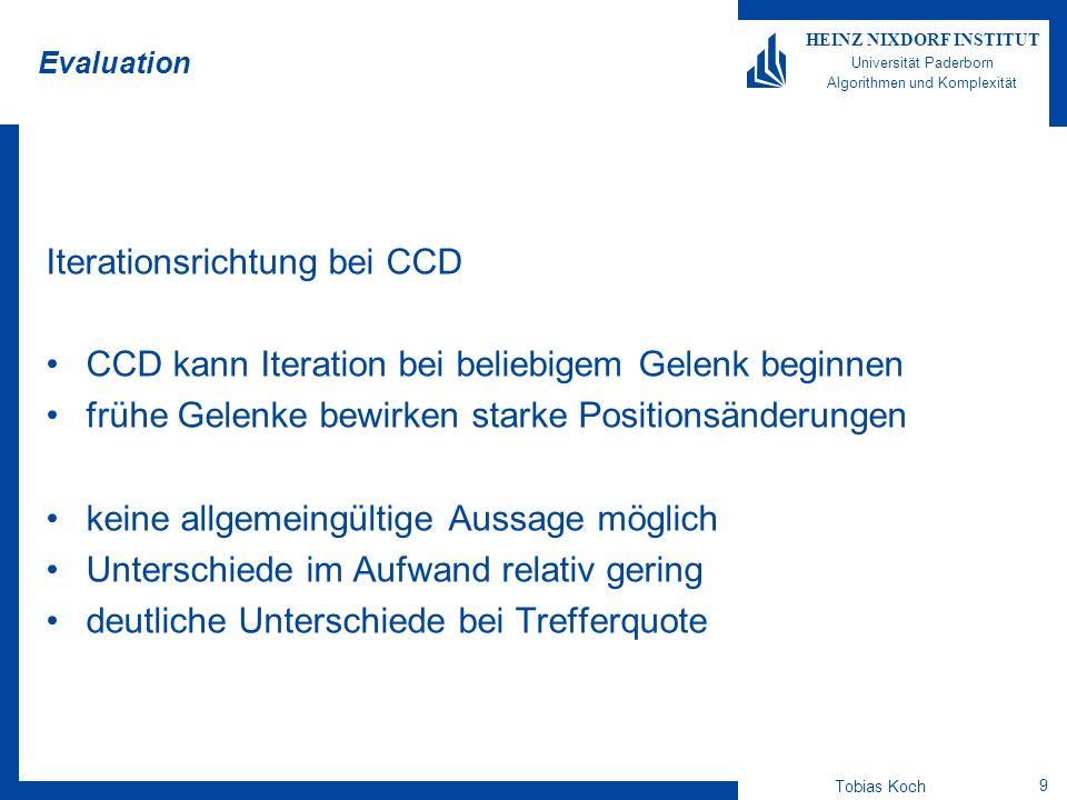 Tobias Koch 9 HEINZ NIXDORF INSTITUT Universität Paderborn Algorithmen und Komplexität Evaluation Iterationsrichtung bei CCD CCD kann Iteration bei be