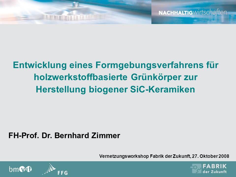 Entwicklung eines Formgebungsverfahrens für holzwerkstoffbasierte Grünkörper zur Herstellung biogener SiC-Keramiken FH-Prof. Dr. Bernhard Zimmer Verne
