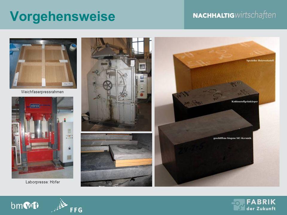 (erste) Ergebnisse Zusammenhang zwischen Eigenschaften Holzwerkstoff – Kohlenstoffkörper – SiC Keramik Erste Erfahrungen mit verschiedenen Formgebungs- verfahren liegen vor Erster Prototyp gefertigt; Testphase begonnen