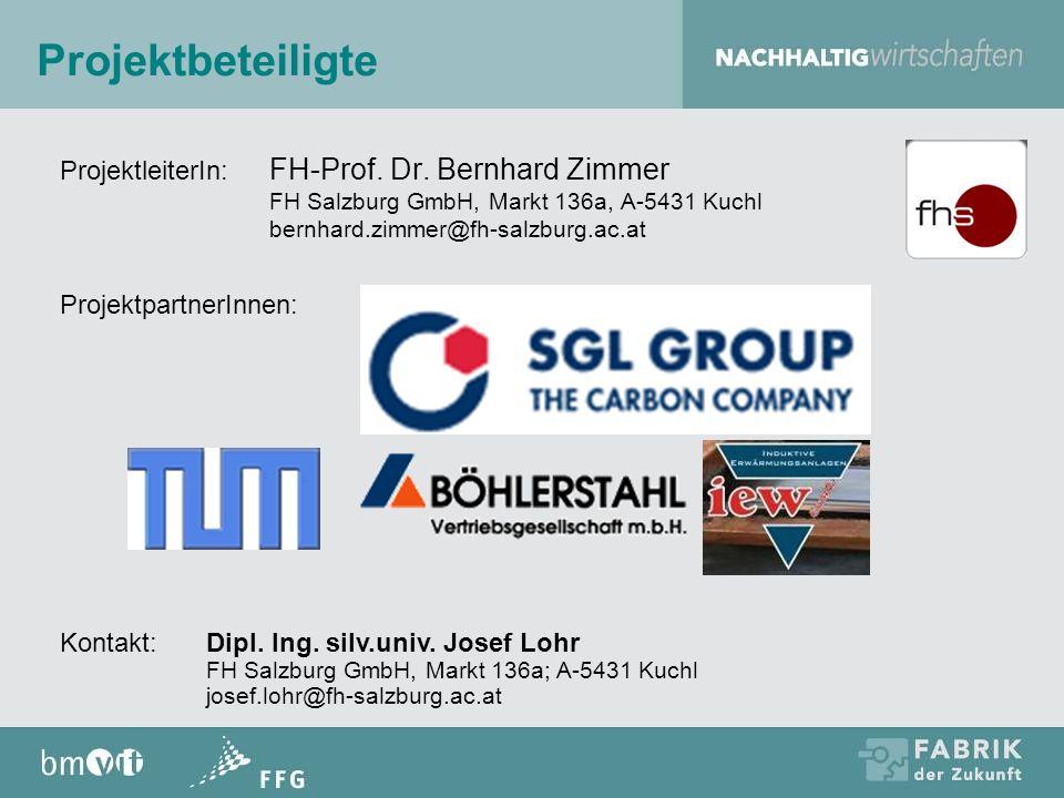 Projektbeteiligte ProjektleiterIn: FH-Prof. Dr. Bernhard Zimmer FH Salzburg GmbH, Markt 136a, A-5431 Kuchl bernhard.zimmer@fh-salzburg.ac.at Projektpa