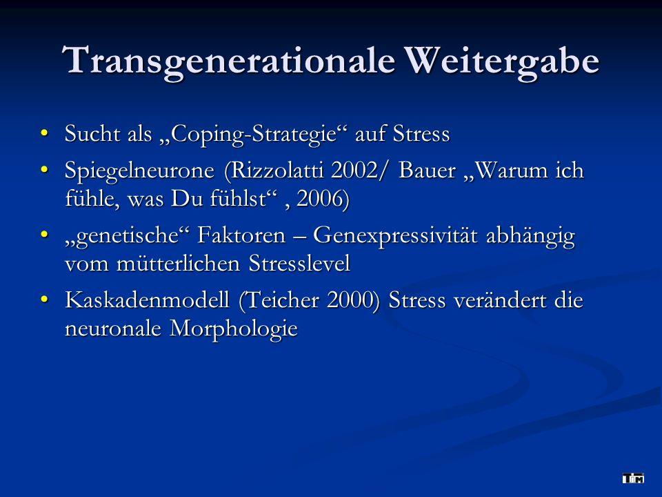 Transgenerationale Weitergabe Sucht als Coping-Strategie auf StressSucht als Coping-Strategie auf Stress Spiegelneurone (Rizzolatti 2002/ Bauer Warum ich fühle, was Du fühlst, 2006)Spiegelneurone (Rizzolatti 2002/ Bauer Warum ich fühle, was Du fühlst, 2006) genetische Faktoren – Genexpressivität abhängig vom mütterlichen Stresslevelgenetische Faktoren – Genexpressivität abhängig vom mütterlichen Stresslevel Kaskadenmodell (Teicher 2000) Stress verändert die neuronale MorphologieKaskadenmodell (Teicher 2000) Stress verändert die neuronale Morphologie