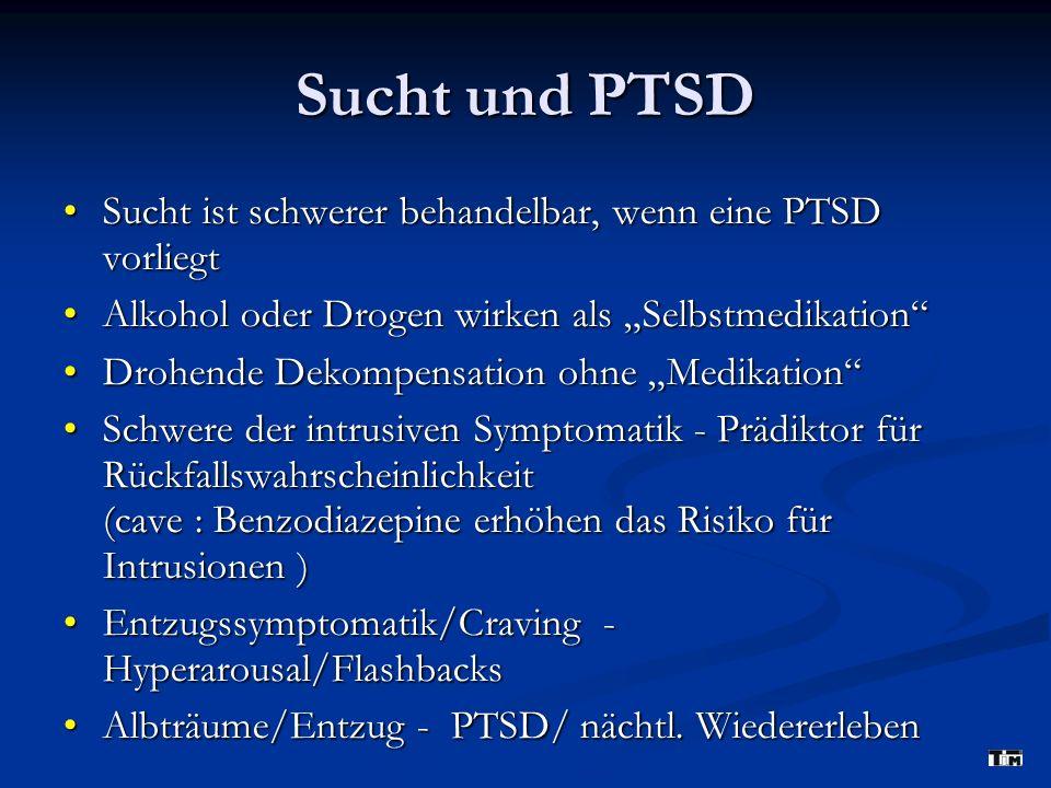 Sucht und PTSD Sucht ist schwerer behandelbar, wenn eine PTSD vorliegtSucht ist schwerer behandelbar, wenn eine PTSD vorliegt Alkohol oder Drogen wirken als SelbstmedikationAlkohol oder Drogen wirken als Selbstmedikation Drohende Dekompensation ohne MedikationDrohende Dekompensation ohne Medikation Schwere der intrusiven Symptomatik - Prädiktor für Rückfallswahrscheinlichkeit (cave : Benzodiazepine erhöhen das Risiko für Intrusionen )Schwere der intrusiven Symptomatik - Prädiktor für Rückfallswahrscheinlichkeit (cave : Benzodiazepine erhöhen das Risiko für Intrusionen ) Entzugssymptomatik/Craving - Hyperarousal/FlashbacksEntzugssymptomatik/Craving - Hyperarousal/Flashbacks Albträume/Entzug - PTSD/ nächtl.